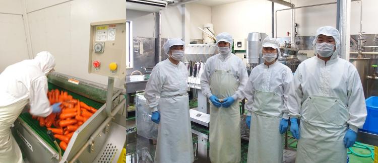 にんじんジュースの製造工場