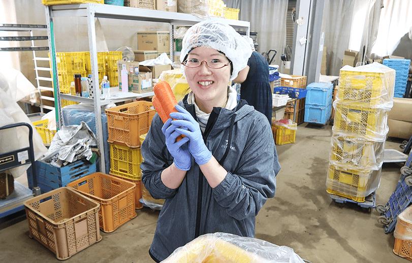 有機・無農薬にんじんの宅配出荷場のスタッフ